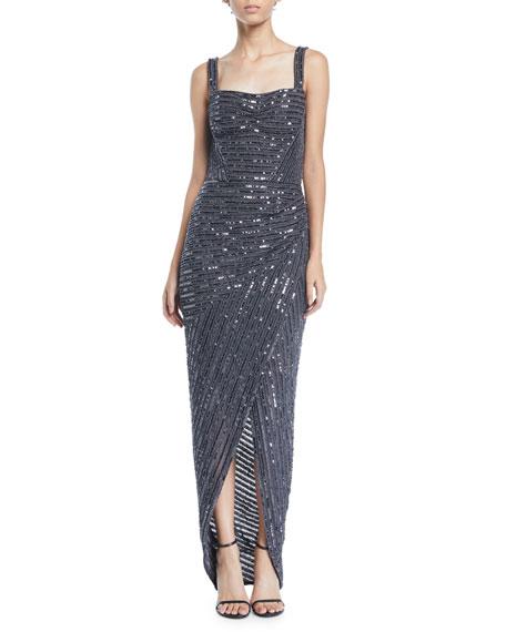 Rachel Gilbert Square Neck Sleeveless Sequin Wrap Skirt