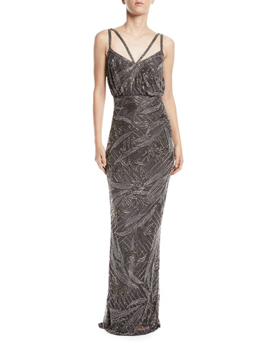 Strappy Hand-Embellished Beaded Column Evening Gown
