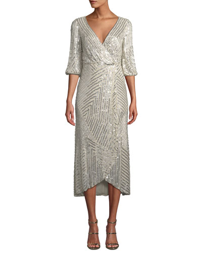 Sequined Wrap-Front Midi Dress