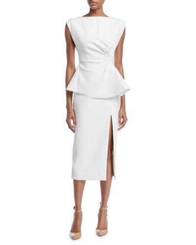 Cinched-Waist Sleeveless Sheath Twill Midi Dress w/ Front Slit