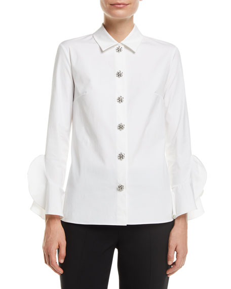 Michael Kors Collection Jewel-Buttons Long-Sleeve Classic