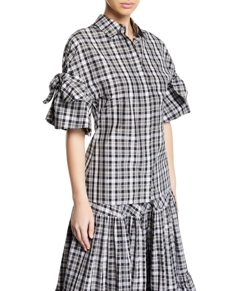 Tie-Sleeve Madras Plaid Button Front Shirt