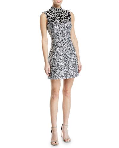 Mock-Neck Metallic Brocade Embellished-Bib Shift Dress