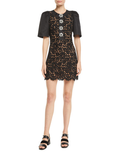 Short-Sleeve Floral-Lace Body-Con Mini Cocktail Dress w/ Crystalized Buttons