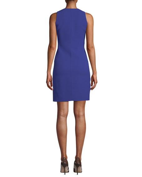 Patent Zip-Front Sleeveless Scuba Shift Dress