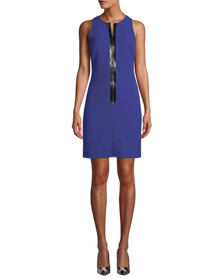 Michael Kors Collection Patent Zip-Front Sleeveless Scuba Shift