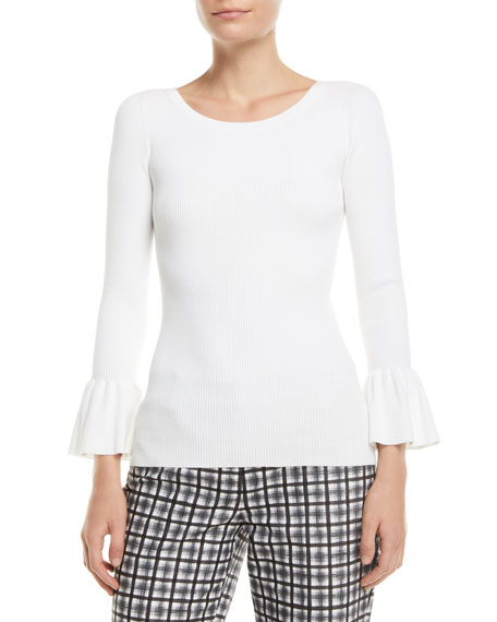 Michael Kors Collection Crewneck Ruffle-Cuff Stretch-Viscose