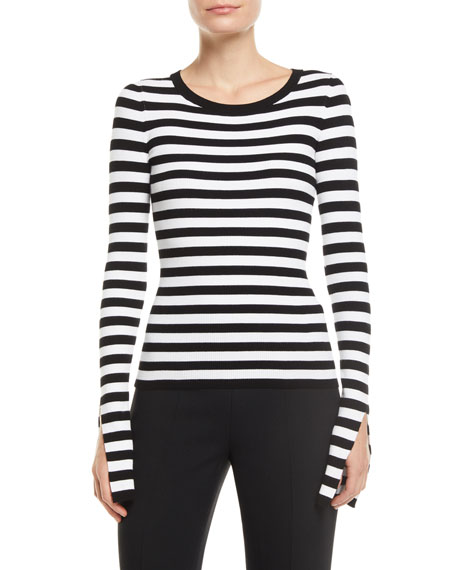 Slit-Sleeve Crewneck Striped Stretch-Viscose Sweater