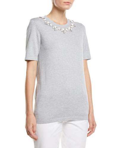 Shell-Necklace Cotton T-Shirt