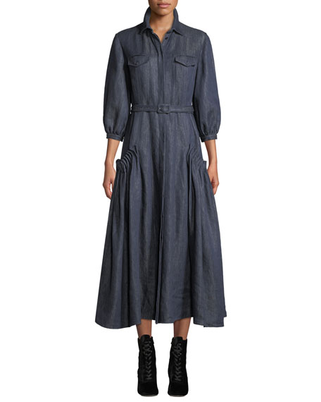 Gabriela Hearst Woodward Belted Linen Ankle Dress, Dark