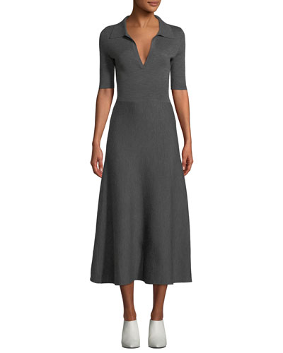 Elbow-Sleeve V-Neck A-Line Mid-Calf Wool-Cashmere Dress