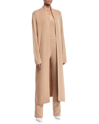 Lorona Thin Cashmere Open-Front Duster Cardigan