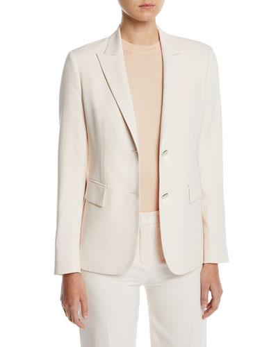 Silk-Wool Single-Breasted Blazer