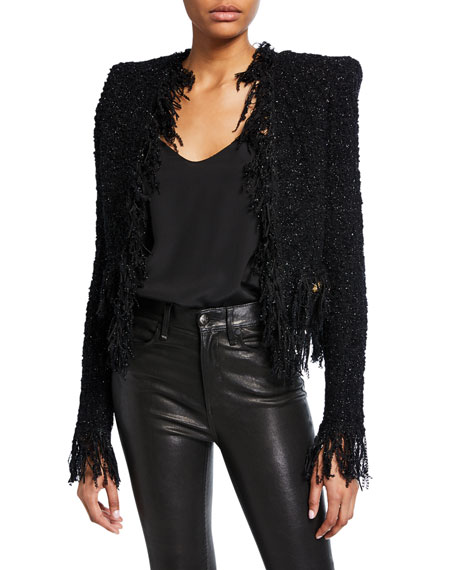 Balmain Distressed Shimmer-Tweed Jacket