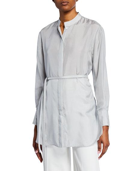 Striped Silk Tie-Waist Button-Front Blouse