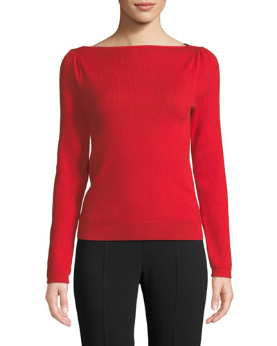 Boat-Neck Fine Cashmere Sweater