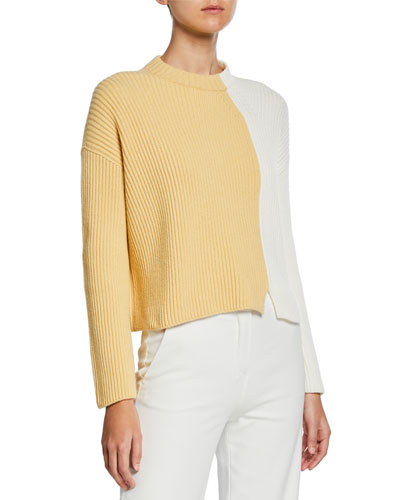 Two-Tone Ribbed Cashmere Sweater
