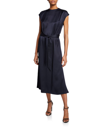 Dyra Silk-Satin Tie-Waist Dress