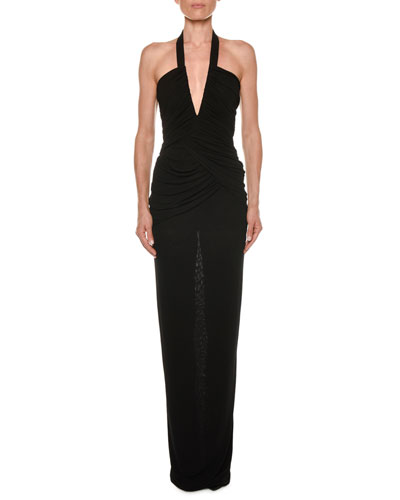 Haltered Deep-V Ruched Jersey Gown