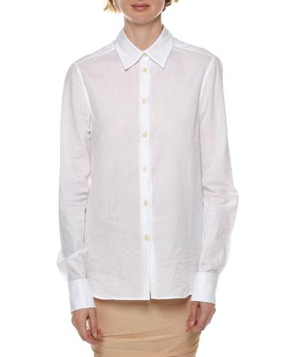 Long-Sleeve Cotton Poplin Button-Front Blouse