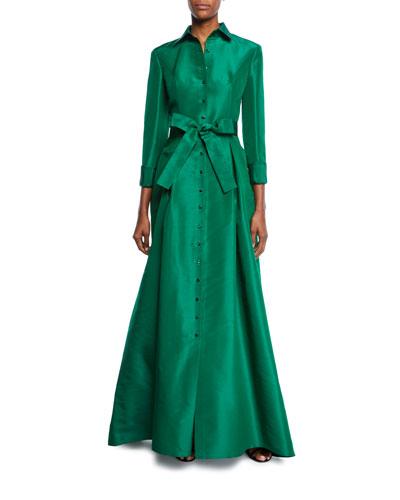 Bow-Waist Faille Shirt Gown