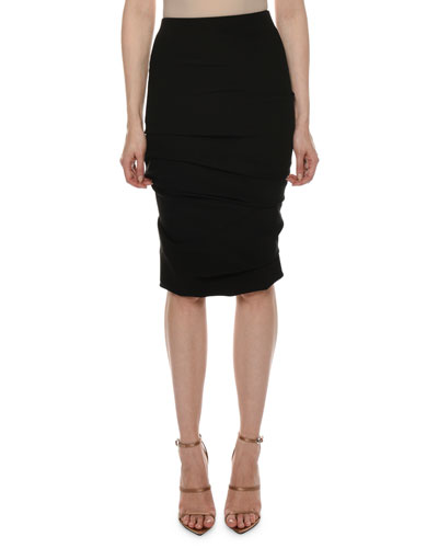 Ruched Jersey Body-Con Knee-Length Skirt