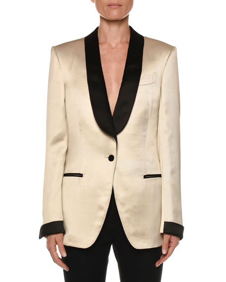 TOM FORD Liquid-Gabardine Contrast-Trimmed Tuxedo Jacket