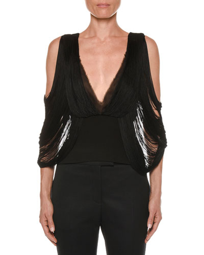 Cold-Shoulder Draped-Fringe Top