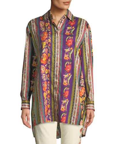 512f57f478f6f Promotion Floral-Ribbon Button-Front Tunic Quick Look. Etro