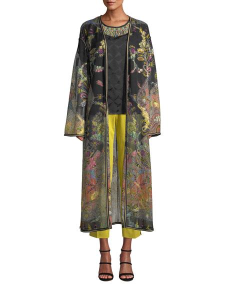 5081c97e6dd Dolce   Gabbana Mock-Neck Long-Sleeve Giraffe-Print Chiffon Dress