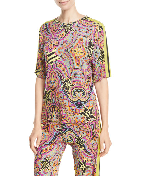 Etro Short-Sleeve Printed Jersey Athleisure Top