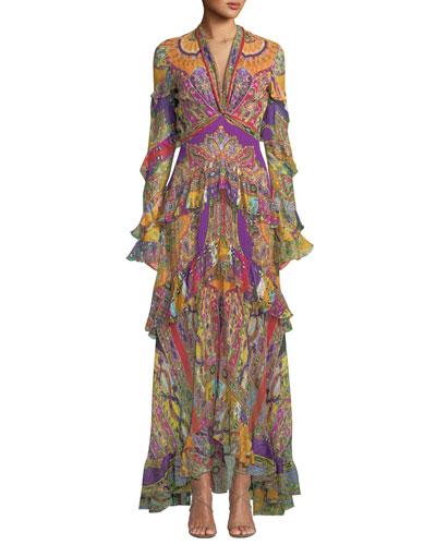 Ruffled Deco-Geometry Print Chiffon Maxi Dress