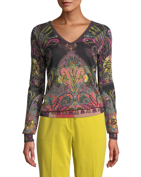 Etro V-Neck Metallic Pop Art Paisley Sweater