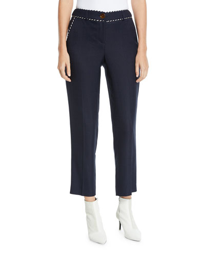 Mid-Rise Whipstitched Stretch Tailored Trouser