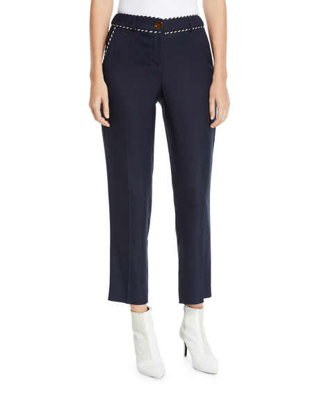 Peter Pilotto Mid-Rise Whipstitched Stretch Tailored Trouser