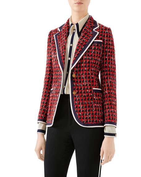 98a4c527ca6 Gucci Geometric Tweed Blazer Jacket
