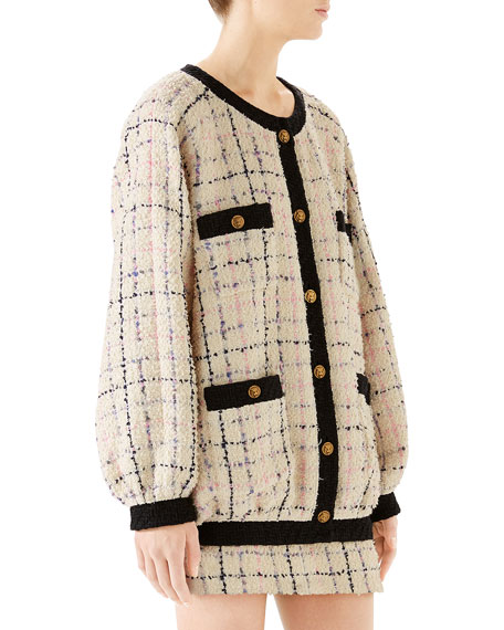 99689b519 Gucci Oversized Tweed Bomber Jacket