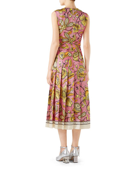 Sleeveless Watercolor-Floral Silk Midi Dress