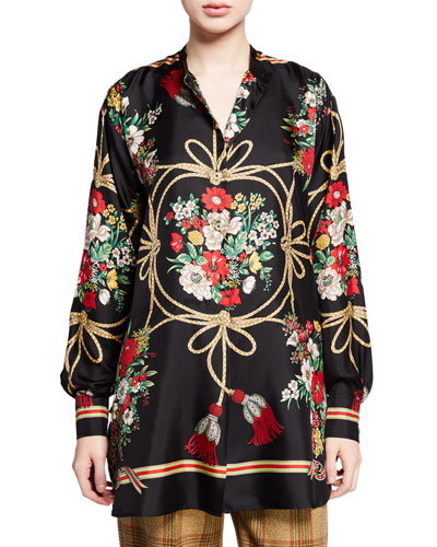 Intrigue Floral and Tassel Print Button-Front Blouse