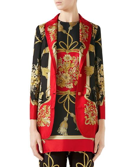 Gucci Intrigue Place Floral and Tassel Jacquard Twill