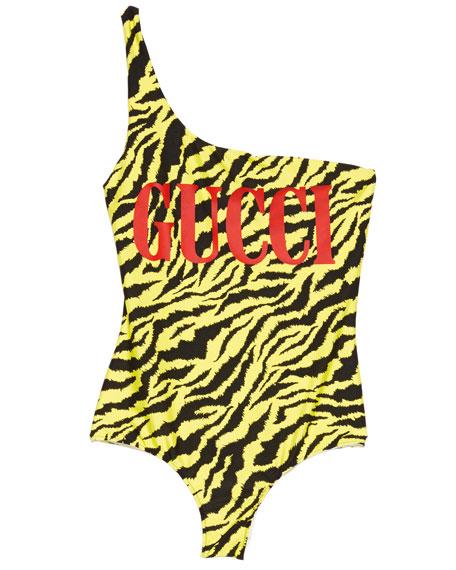 One-Shoulder Sparkling Logo Swimsuit