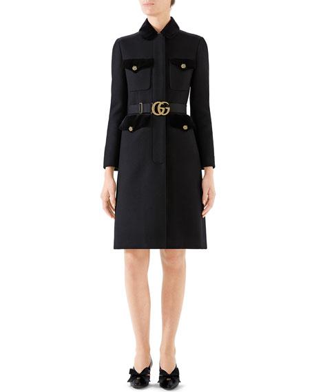 Gucci Belted Velvet-Trim Military Coat