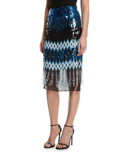 Sequin Embroidered Knee-Length Pencil Skirt