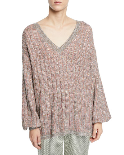 V-Neck Tie-Back Loose-Knit Metallic Sweater