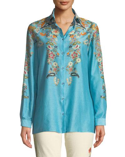 Fern-Floral Silk-Cotton Button-Front Blouse