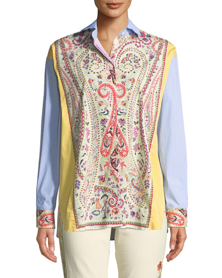 Etro Striped & Floral Stretch-Cotton Button-Front Blouse