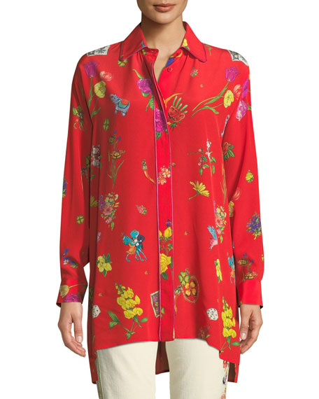 Etro Lucky Charm Printed Button-Front Blouse