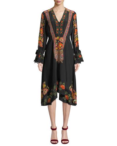 Lace-Trim Engineered Floral-Print Midi Dress