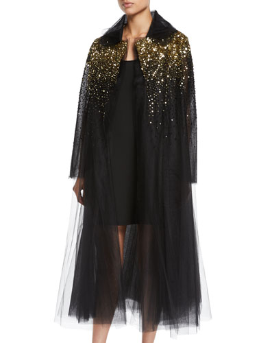Golden-Sequin Tulle Evening Coat