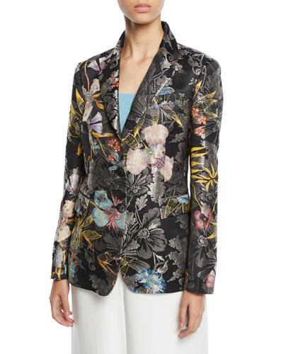 Metallic Floral-Jacquard Two-Button Blazer